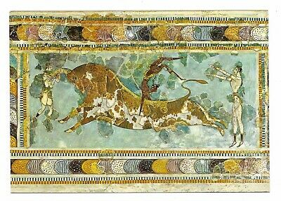 Bullfight Fresco, Knossos Palace, Heraklion, Crete Unused Postcard 994L