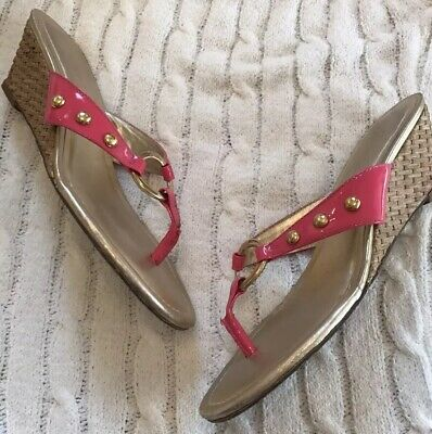 7ec03a38a Lilly Pulitzer McKim Wedge Sandal Patent Pretty Pink With Gold Stud Detail  Sz 7