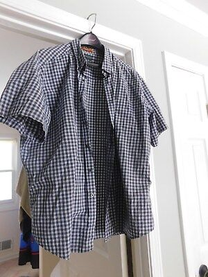 Dockers Premium Mens Size Xx Large Blue/brown/white Check Shirt Short Sleeve