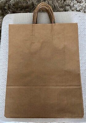 20 x Large Plain Brown Strong Paper Bags with Twisted Handle - Craft/Gift + More