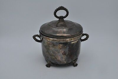 W&S Blackinton Silverplate Footed Ice Bucket Ornate Handles Cover Glass Liner
