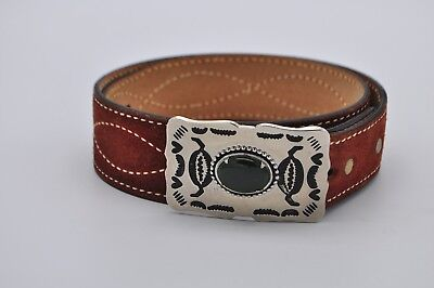Vintage Split Cowhide Leather Belt w/ Green Jasper Silver Belt Buckle Southweste