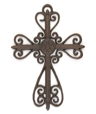10 PK Ornate hanging Scroll Wall Cross cast iron vintage antique style décor