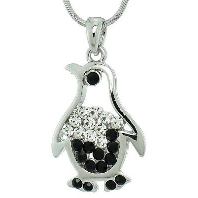 "Penguin Pendant Made With Swarovski Crystal Black White 18"" Chain Necklace"
