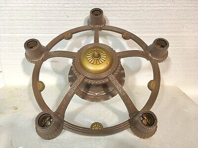 "Antique Cast Iron Ceiling Light Fixture-5 Outlets-Restored-16"" Round-Very Nice!!"