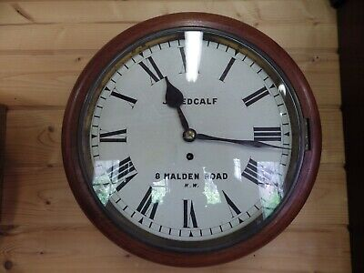 English Fusee Dial Clock By J Medcalf London Fully Serviced Circl 1980s
