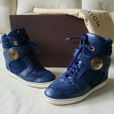 2732febbc154 LOUIS VUITTON POSTMARK Epi Navy Blue Suede High Top Wedge Sneakers ...