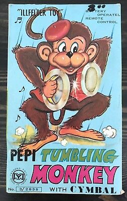 VINTAGE ORIGINAL TOY Cymbal Monkey Mechanical Battery Operated~Works