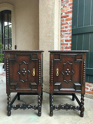 PAIR Set 2 Antique English Carved Oak Barley Twist Nightstand End Table Jacobean
