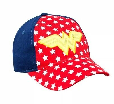 new style d2919 5306b Toddler Girls DC Comics Wonder Woman Red White Navy Blue Ball Cap Hat