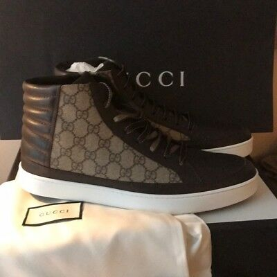 888d33dc6 Gucci Men's Authentic GG Supreme Canvas High Top Shoe Brown Sneakers Size  11.5