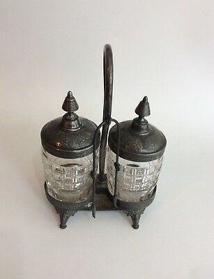 Antique Rogers Smith & Co New Haven  Silver Plate Double Pickle Castor