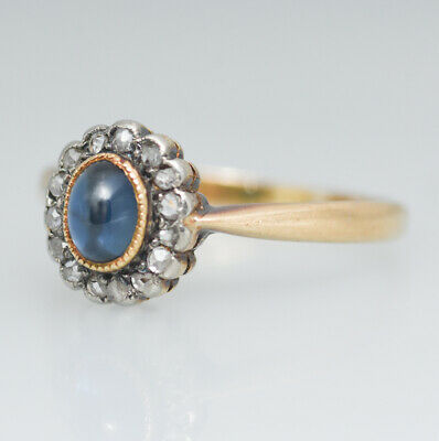 Jugendstil Ring Gold 585 Diamanten Diamantrosen Saphir antik um 1900