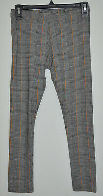 ZARA Girls Collection Girls Gray Black White Plaid Tan Accents Leggings Size: 10
