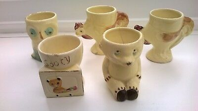 5 X Keele Street Pottery Egg Cups Cottage Ware.