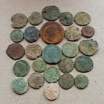 25 Good Roman Coins for Cleaning and Attribution Includes 1 Very Rare Lead Coin