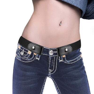 Women Buckle Belt No Stretch Elastic Invisible Free Waist Jeans Show Pants