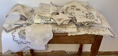 Large Lot Madeira Tablecloths Tray Cloths Coasters Napkins Embroidered Linen