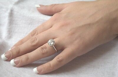 14K White Gold 3.00Ct Round Created Diamond Silver Engagement Ring