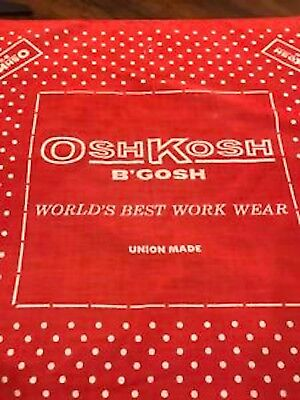 Vintage 1960s OshKosh B'Gosh Union Made Single Polka Dot Print RED Bandana