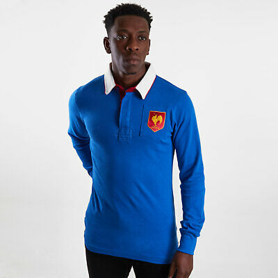 VX-3 Mens France 2019/20 Vintage Rugby Polo Shirt Top Long Sleeve Blue