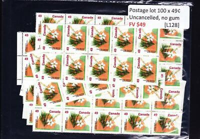 Canada postage lot 100 x 49¢, FV $49, no glue, uncancelled [L128]