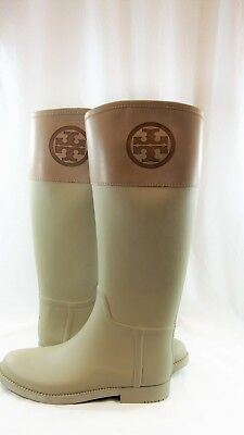 f7dcb8f994d9 TORY BURCH DIANA Rubber Riding Rain Boots Size 9. Black and Dark ...