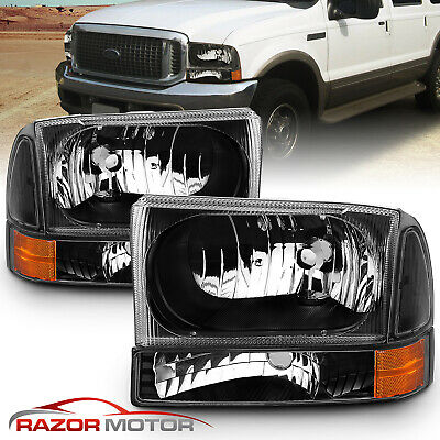 00-04 Ford Excursion/99-04 F250/F350/F450/F550 Super Duty Black Headlights Pair