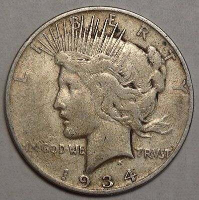 1934-S Peace Dollar, Key Date, Nice Problem Free Circulated Coin  1013-05