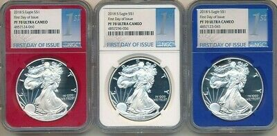 2018-S Proof American Silver Eagles-Ngc Red White Blue Set-All Pf70 Uc! Inv:3
