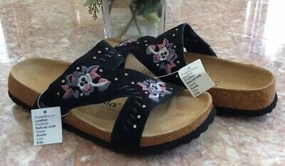 6b53cbbd7482 New Betula Birkenstock Black Floral Embroidered Zara Sandals Size 8  EU 39   125