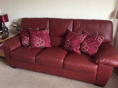 DFS DARK RED leather 3 seater sofa just over 1 year old In ...