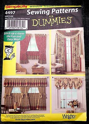 New! Simplicity #4497 Home Decorating. Sewing for Dummies. Window Treatments