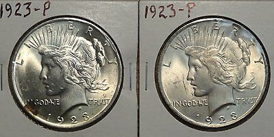 Pair of 1923 Peace Silver Dollars, Nice Uncirculated Coins  0420-10