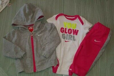 New - baby - girl - tracksuit & vest - 3-6 months - Nike - pink - white