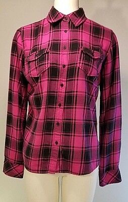 Aeropostle Button Down Flannel Shirt - Size L - Pink & Black Plaid