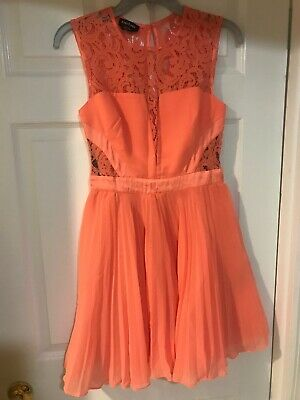Bebe Coral Womens Size 4 Party Dress, Lace, Wedding, Event, Night