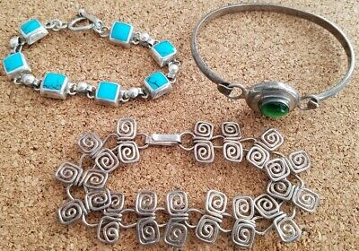 Lot 3 Vintage Mexico 925 Sterling Silver Bracelets Cat Eye Turquoise Modern Wire