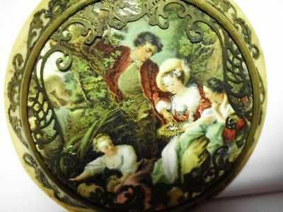 zauberhafte antike-Puderdose-Celluloid-France-unique antique romantic powder box