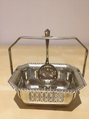 Matching EPNS Silver Plated Sugar bowl and sifter spoon. Missing Glass Interior.