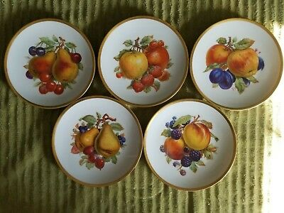 """Mitterteich Bavaria Germany 7 1/2"""" Plates Set of 5 All Different Fruit/Gold Trim"""
