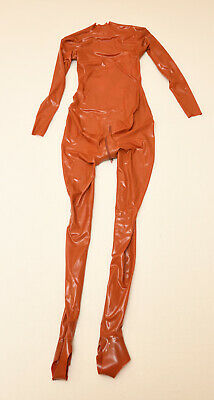 Fantastic Rubber Neck Entry Latex Catsuit Clinical Red XS