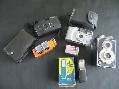 Job Lot Of Vintage Film Camera's And Accessories Halina Pentax Film & Flash