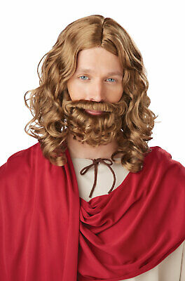 Brand New Biblical Jesus Wig and Beard Adult Set Brown