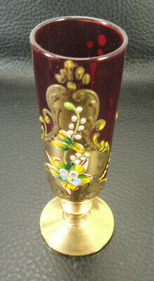 ANTIQUE BOHEMIAN Moser Hand Painted CRANBERRY Gold Art Glass shot Cup