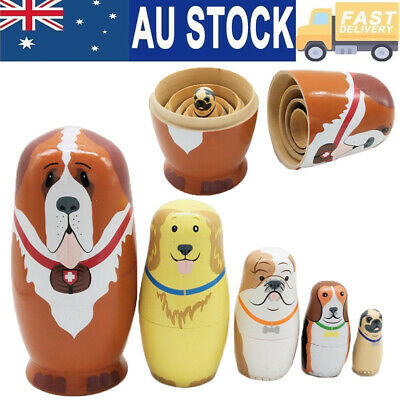 5Pcs Cute Nesting Dolls Adorable Puppy Dog Collection Toy Russian Stacking Dolls