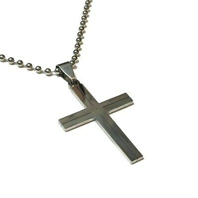 Christian Necklace Stainless Steel Cross Pendant Bead Chain Crucifix Jewellery