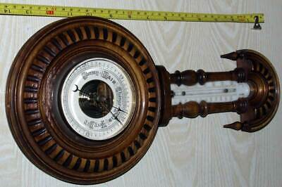 Antique Bavarian Historism Carved Wood Barometer/Thermometer 19th century C & F!