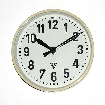 white Metal wall clock PRAGOTRON - Factory Railway School - vintage retro loft