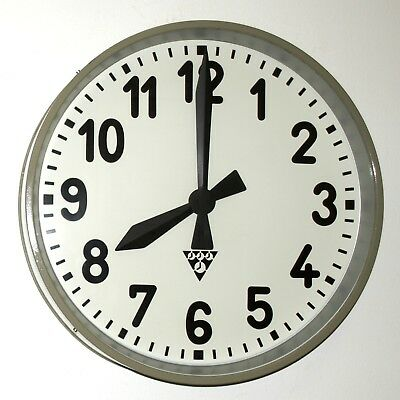 XXL metal wall clock PRAGOTRON - metal industrial vintage Factory Railway School